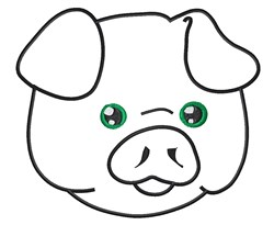 Cute Piggy Face Outline embroidery design