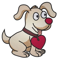 Cartoon Dog Heart Collar embroidery design