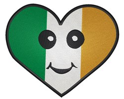 Irish Flag Smiley Heart embroidery design