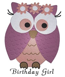 Birthday Girl Owl embroidery design