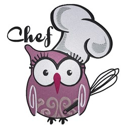 Chef Owl embroidery design