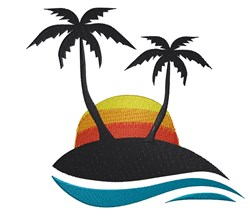 Sunset Palm Trees embroidery design
