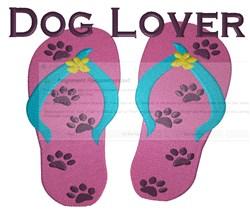 Dog Lover Flip Flops embroidery design
