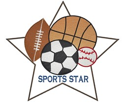 Sports Star embroidery design
