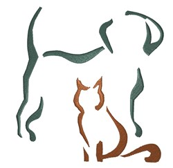 Cat and Dog Outline embroidery design