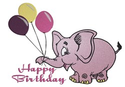 Happy Birthday Elephant embroidery design
