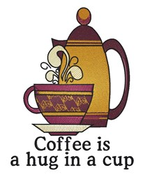 Coffee Hug embroidery design