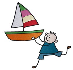 Sailboat Boy embroidery design