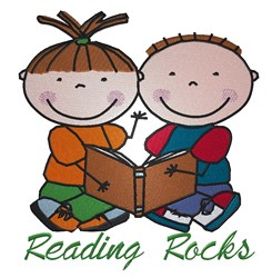 Reading Rocks embroidery design