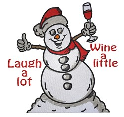 Wine A Little Snowman embroidery design