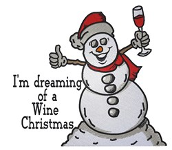 Wine Christmas Snowman embroidery design