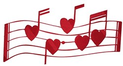 Musical Heart Notes embroidery design