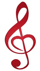 Red Treble Clef Love embroidery design