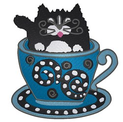 Cat In Coffee Cup embroidery design