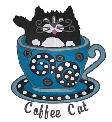 Coffee Cat embroidery design