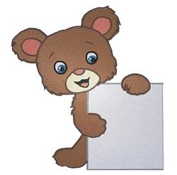 Teddy Bear Holding Sign embroidery design