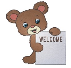 Welcome Bear embroidery design