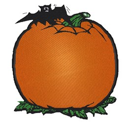 Pumpkin With Bat embroidery design