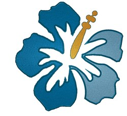 Blue Hawaiian Flower embroidery design