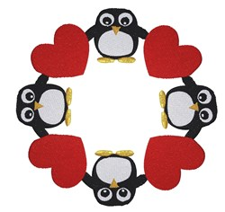 Penguins And Hearts Circle embroidery design