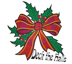 Deck The Halls Bow embroidery design