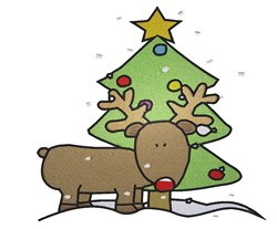 Rudolph And Christmas Tree embroidery design