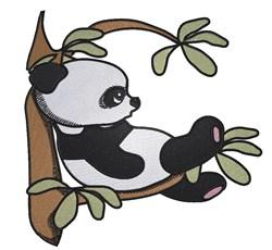 Panda On Branch embroidery design