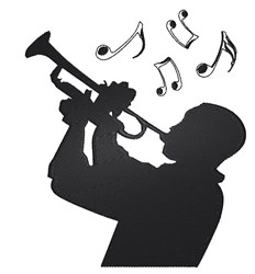 Trumpet Player Silhouette embroidery design