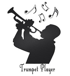 Silhouette Trumpet Player embroidery design
