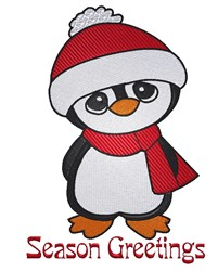 Season Greetings Penguin embroidery design