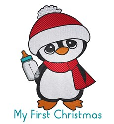 First Christmas Penguin embroidery design