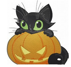 Kitten with Pumpkin embroidery design