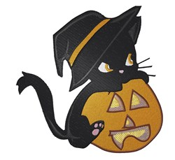 Cat On Pumpkin embroidery design