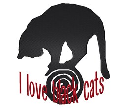 Love Black Cats embroidery design
