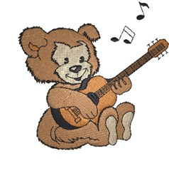 Teddy With Guitar embroidery design