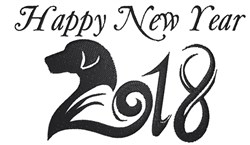 2018 Happy New Year embroidery design