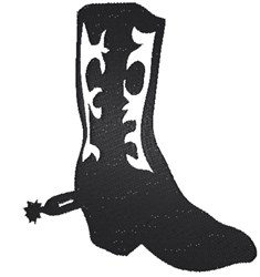 Cowboy Boot Silhoutte embroidery design
