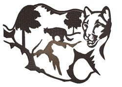 Mountain Lion Silhouette embroidery design