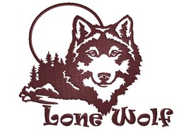 Lone Wolf Silhouette embroidery design