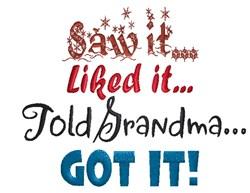 Tell Grandma! embroidery design