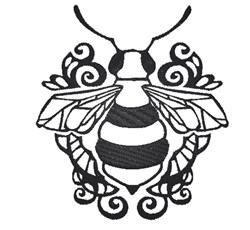 Black & White Bee embroidery design