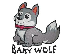 Cute Baby Wolf embroidery design