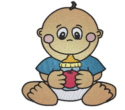 Baby Boy & Bottle embroidery design