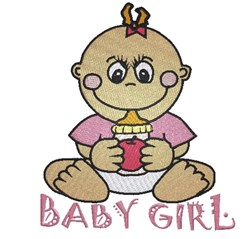 Baby Girl & Bottle embroidery design