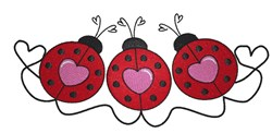 Valentines Day Ladybug Border embroidery design