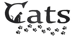 Cat sign with paws embroidery design