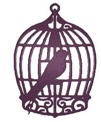 Bird in Cage silhouette embroidery design