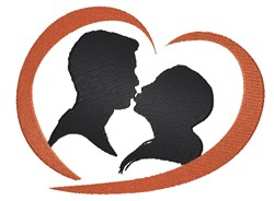 Kissing Couple Silhouette embroidery design