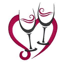 Valentines Wine Glasses embroidery design