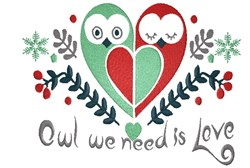 Owl We Need Is Love embroidery design